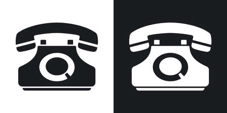 techology: Vector telephone icon. Two-tone version on black and white background