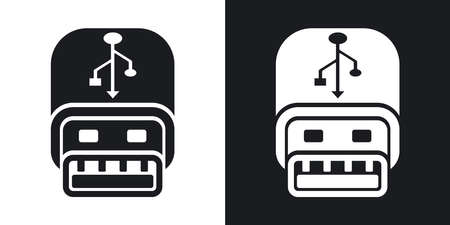 pocket pc: Vector usb stick icon. Two-tone version on black and white background