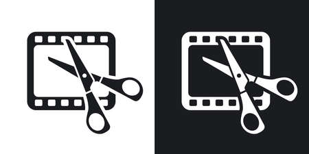 film editing: Vector video editing icon. Two-tone version on black and white background