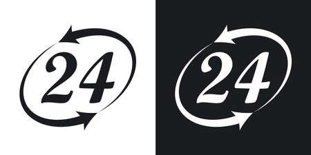 working hours: Vector working hours icon. Two-tone version on black and white background