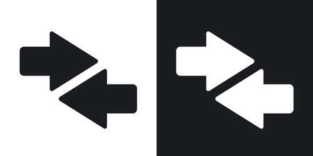 both: Vector both direction arrows icon. Two-tone version on black and white background Illustration