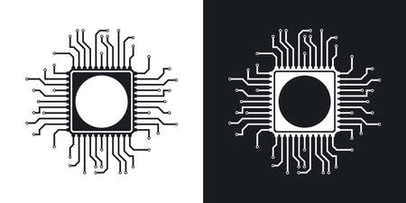 microprocessors: Vector chip icon. Two-tone version on black and white background