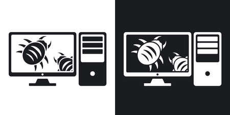 workstation: Workstation is infected by malware, vector illustration. Two-tone version on black and white background
