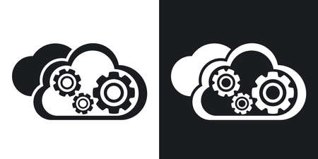 global settings: Vector cloud computing icon. Two-tone version on black and white background