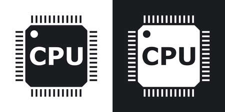 chipset: Vector CPU icon. Two-tone version on black and white background Illustration