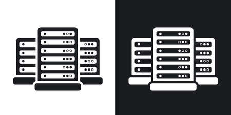 Vector data center icon. Two-tone version on black and white background