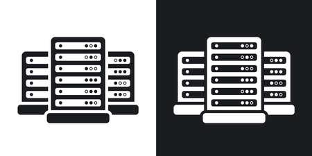 sistemas: Los datos vectoriales centro de icono. versión de dos tonos con el fondo blanco y negro