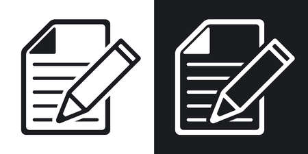 pen icon: Vector document with pen icon. Two-tone version on black and white background