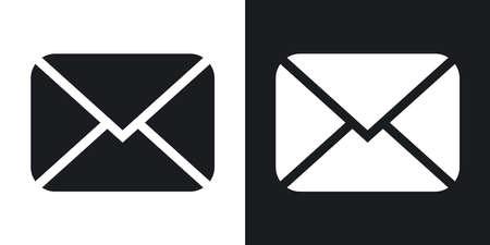 envelope icon: Vector envelope icon. Two-tone version on black and white background