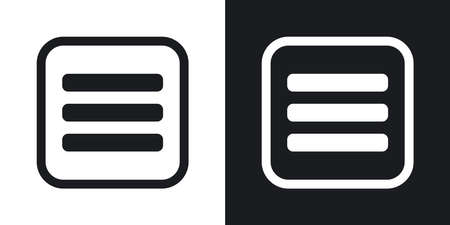 buttons: Vector expand menu button. Two-tone version on black and white background