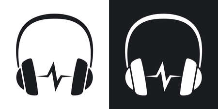soundwave: Vector headphones icon with sound wave. Two-tone version on black and white background