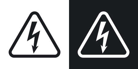 cautious: Vector high voltage sign. Two-tone version on black and white background