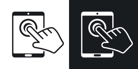 multitouch: Vector tablet touch screen icon. Two-tone version on black and white background