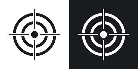 ベクター ターゲット アイコン。黒と白の背景にツートン カラー バージョン  イラスト・ベクター素材