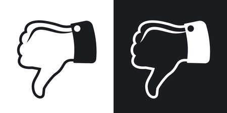 Vector de pulgar hacia abajo icono. versión de dos tonos sobre fondo blanco y negro Ilustración de vector