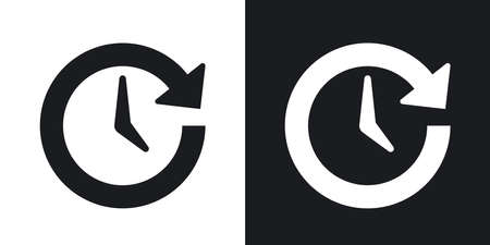 refreshed: Vector update icon. Two-tone version on black and white background