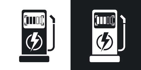 zero emission: Vector charging station for electric car icon. Two-tone version on black and white background