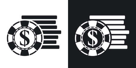 gambling chips: Vector gambling chips icon. Two-tone version on black and white background