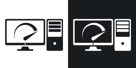 speed test: Vector speed test computer icon. Two-tone version on black and white background