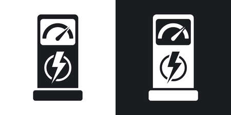 zero emission: Charging station for electric car, vector icon. Two-tone version on black and white background Illustration