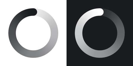 Circular loading icon, vector. Two-tone version on black and white background