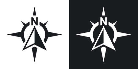 Compass concept icon, vector. Two-tone version on black and white background