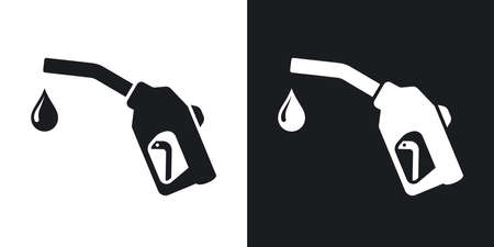 gas gauge: Gun for fuel pump with a drop of fuel, vector icon. Two-tone version on black and white background Illustration