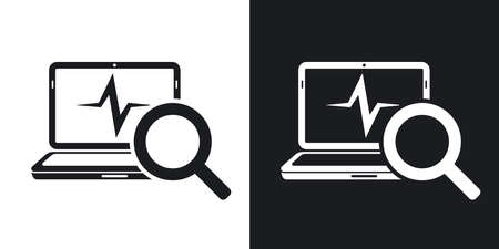 pulsation: Laptop diagnostics icon, vector. Two-tone version on black and white background
