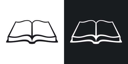 open book: Open book icon, stock vector. Two-tone version on black and white background