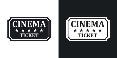 cinema ticket: Vector cinema ticket icon. Two-tone version on black and white background