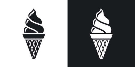 two tone: Vector ice cream cone icon. Two-tone version on black and white background