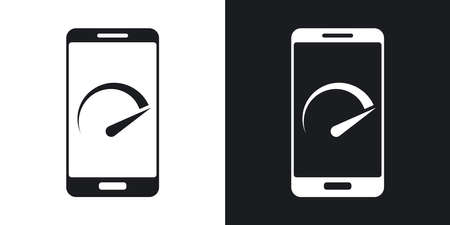 speed test: Vector speed test smartphone icon. Two-tone version on black and white background Illustration