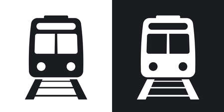 vehicle track: Vector train icon. Two-tone version on black and white background
