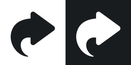 forward icon: Vector arrow forward icon. Two-tone version on black and white background