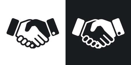 apreton de mano: Vector icono de apretón de manos. versión de dos tonos con el fondo blanco y negro Vectores