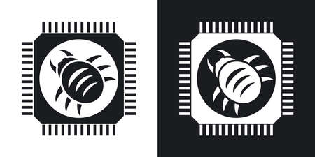 Vector hardware bug icon. Two-tone version on black and white background