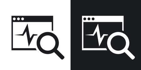 solucion de problemas: diagnóstico de vectores icono del software. versión de dos tonos con el fondo blanco y negro