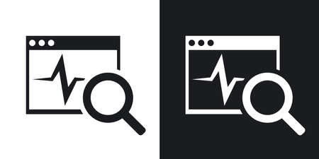 Vector diagnostics software icon. Two-tone version on black and white background