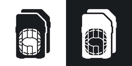 dual: Vector Dual SIM cards Icon. Two-tone version on black and white background