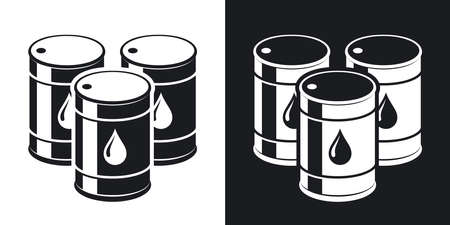 naphtha: Vector oil barrels icon. Two-tone version on black and white background Illustration