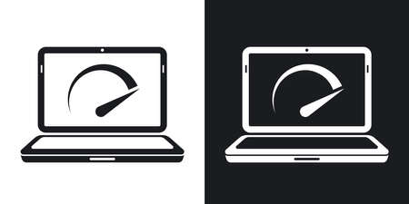 speed test: Vector speed test laptop icon. Two-tone version on black and white background