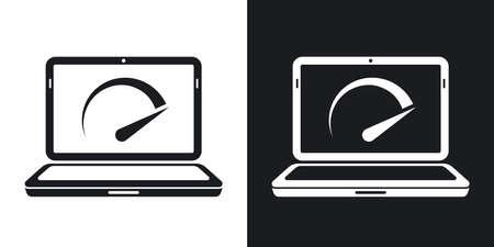 Vector Speed-Test-Laptop-Symbol. Zwei-Ton-Version auf schwarzem und weißem Hintergrund