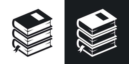 two tone: Vector stack of books icon. Two-tone version on black and white background
