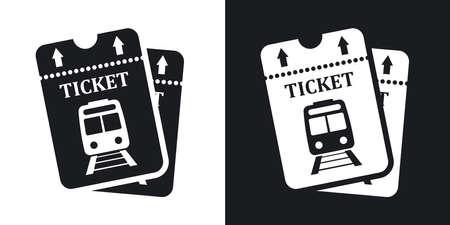 Vector billets de train icône. Version bicolore sur fond noir et blanc Vecteurs