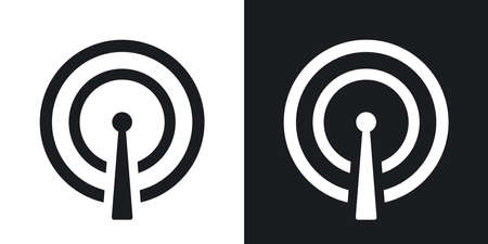 broadcasting: Vector broadcasting icon. Two-tone version on black and white background