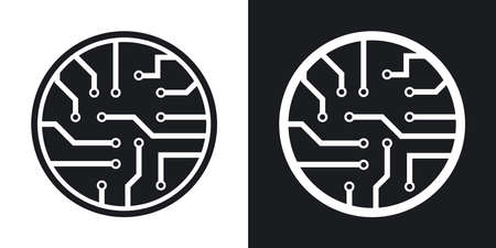 chipset: Vector circuit board icon. Two-tone version on black and white background Illustration