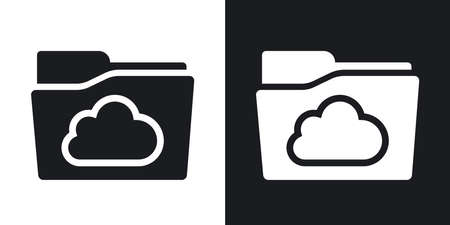 folders: Vector cloud folder icon. Two-tone version on black and white background Illustration