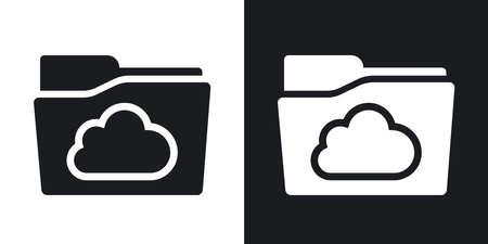 carpeta: Vector icono de la carpeta en la nube. versión de dos tonos con el fondo blanco y negro