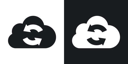 virtualization: Vector cloud sync icon. Two-tone version on black and white background Illustration