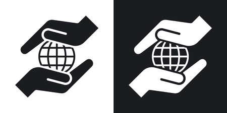 Les mains vectorielles protègent l'icône de la terre. Deux tons sur fond noir et blanc